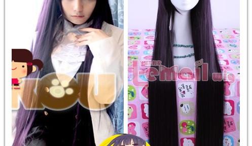 long purple black Shirakiin Ririchiyo straight wig