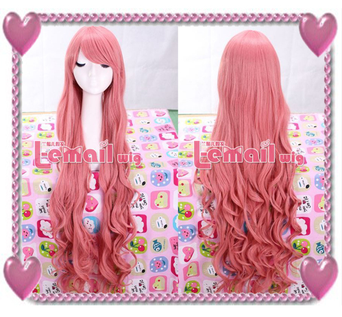 supper long pink Megurine Ruka curly cosplay wig