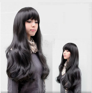 long black sweet curly wavy fashion wig
