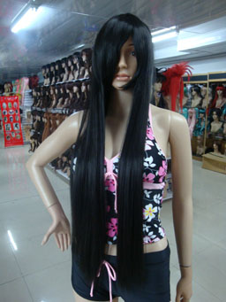 Long black falling cosplay wig