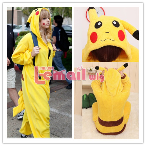 Adult Kigurumi Pajamas Pikachu Hoodies Costume