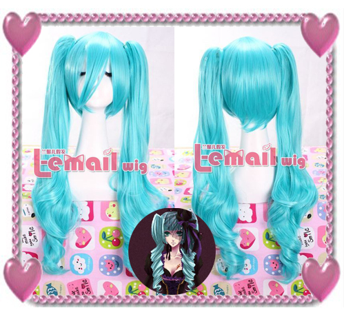 60cm long sky blue Hatsune Miku 2 Clip On Ponytail Straight wig