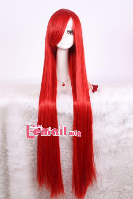 Red Color Straight Long Cosplay Wig Review