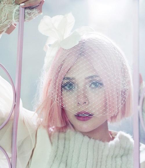 Pale pink bobbed