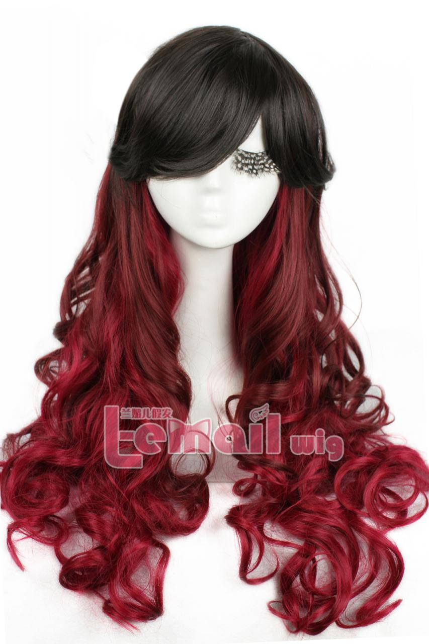 Luxury Black Burgundy Fade Gothic Wig