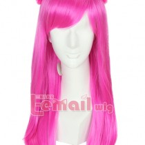Medium Length Magenta Straight Wig