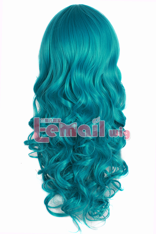 Gorgeous 65cm Long Blue&Green Curly Wig