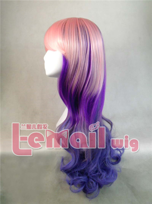 Long Curly Mixed Color Anime Cosplay Wig