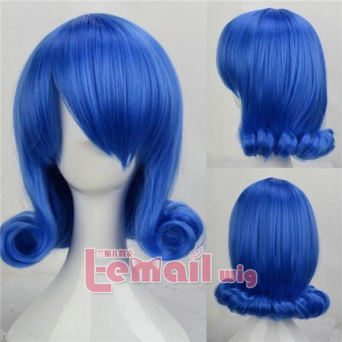 Short Blue Curly Wig for Cosplay