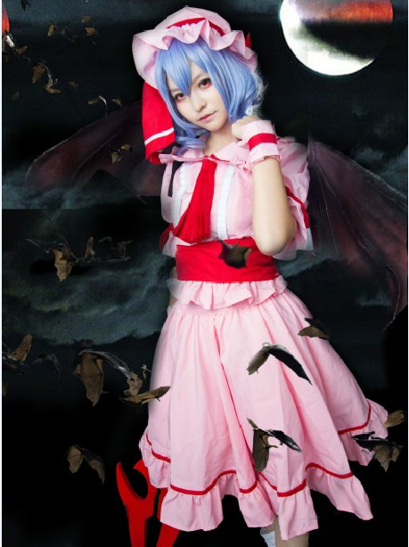 TouHou Project Remilia Scarlet Blue Sky Curly Cosplay Wig