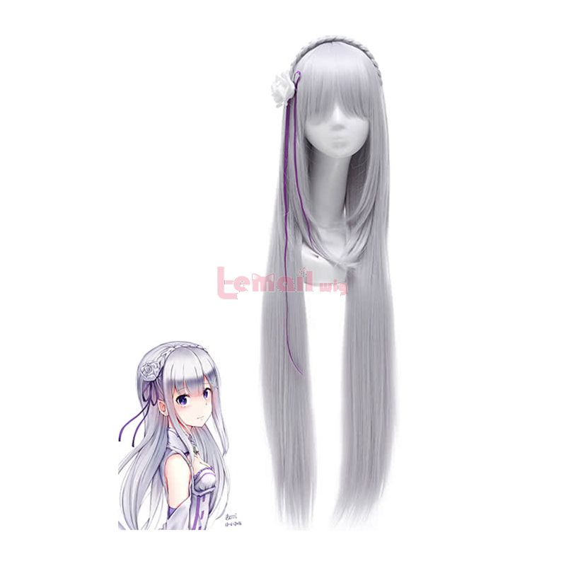 100cm Long Life in A Different World From Zero Emilia Long Silver Straight Cosplay Wigs