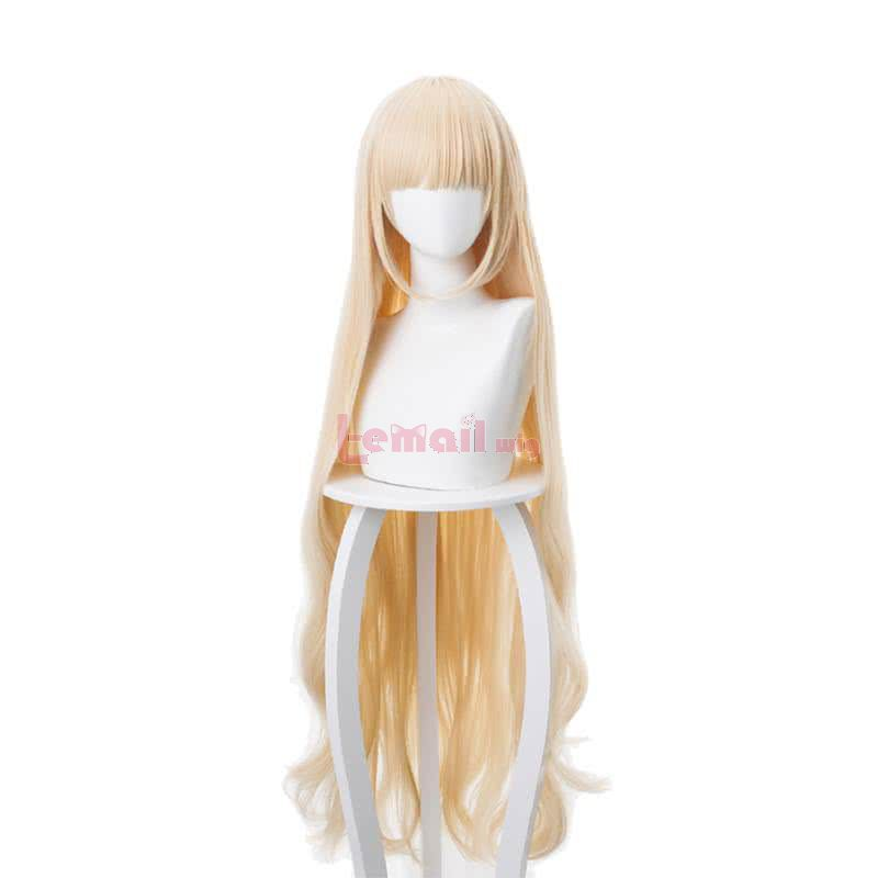 110cm Long Blonde Curly Arknights Nightingale Cosplay Wigs with Flat Bang
