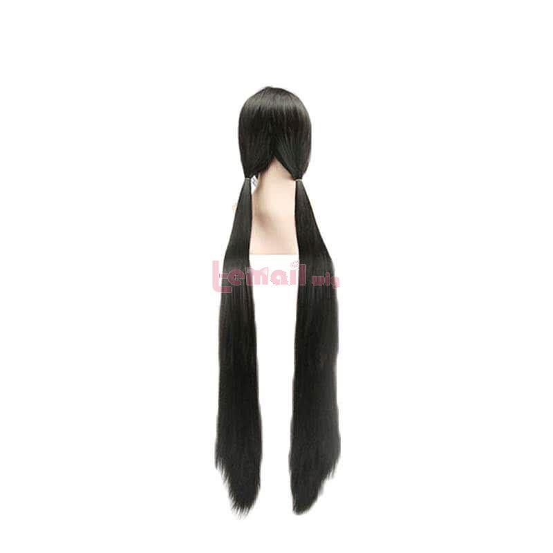 Danganronpa V3 Harukawa Maki 120cm Long Straight Black Ponytail Cosplay Wigs