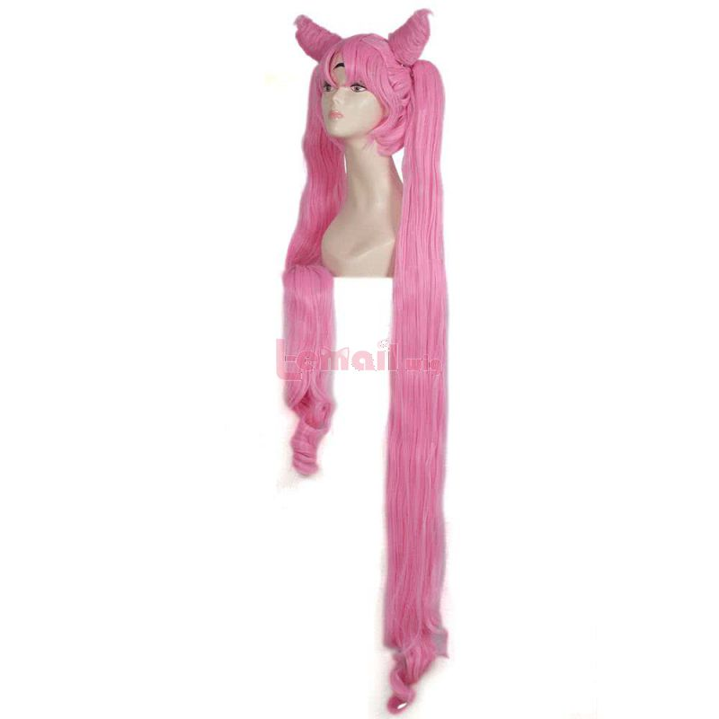 130cm long Pink black lady Sailor Moon Cospaly wig
