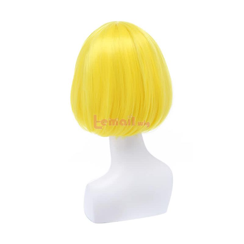 30CM Short Bob Straight Bright Yellow Fashion Wig