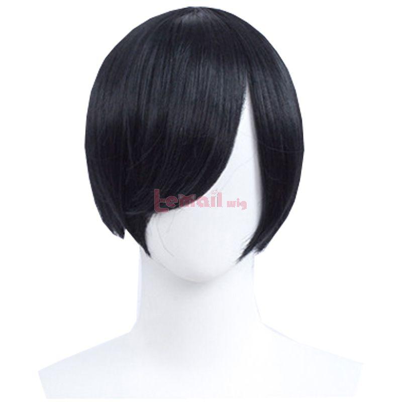30cm Short Straight Black Men General Anime Cosplay Wigs
