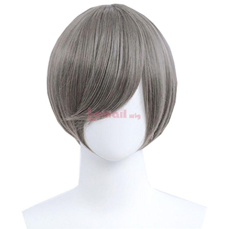 30cm Short Straight Dark Grey General Anime Cosplay Wigs
