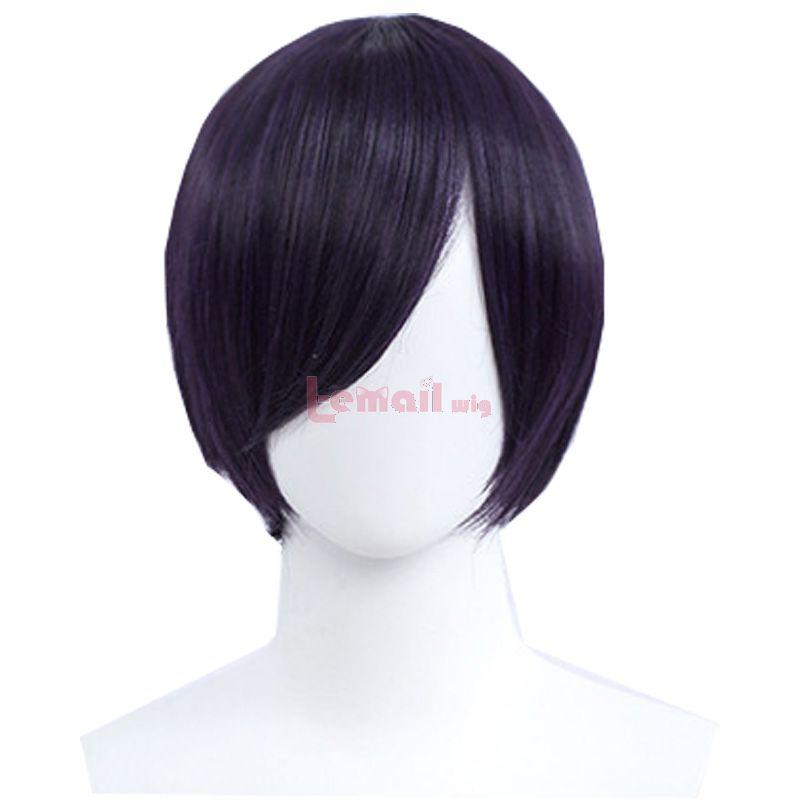 30cm Short Straight Dark Purple General Anime Cosplay Wigs