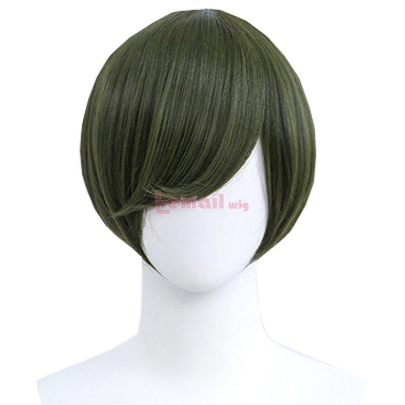 30cm Short Straight Green Black General Anime Cosplay Wigs