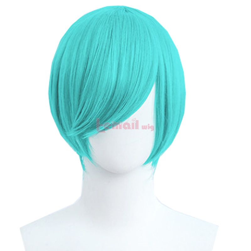 30cm Short Straight Lake Blue General Anime Cosplay Wigs