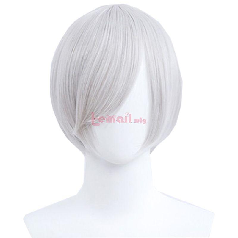 30cm Short Straight Light Grey General Anime Cosplay Wigs