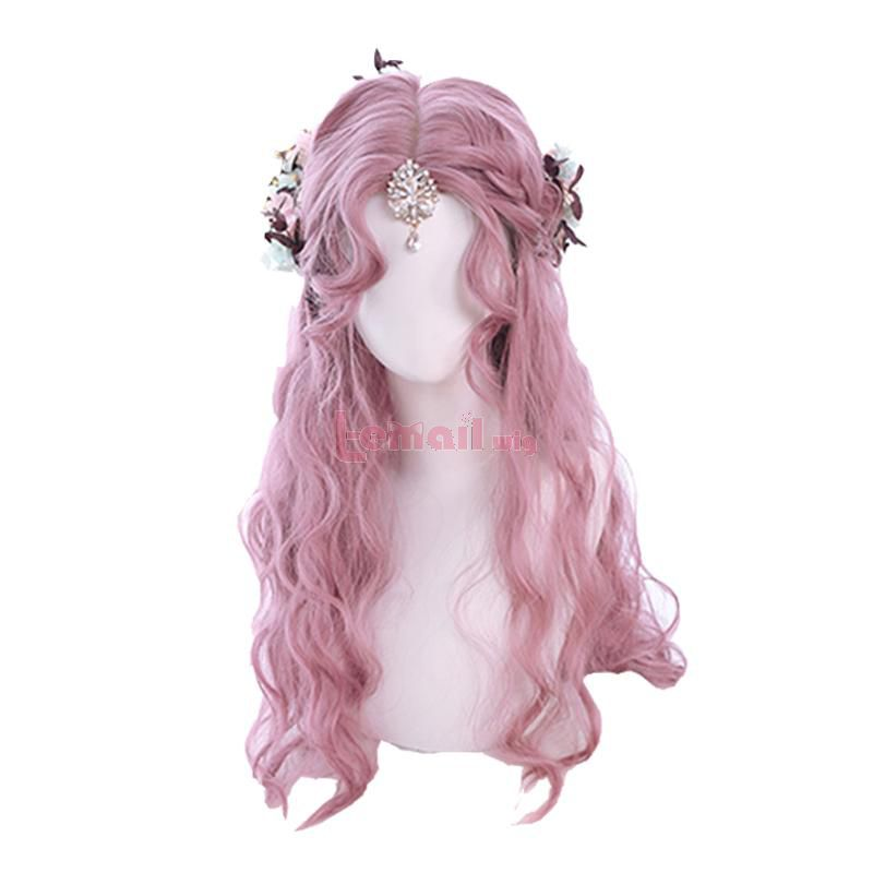3 Colors Pink Brown Flax Golden Wig Long Loose Curly Lolita Wigs