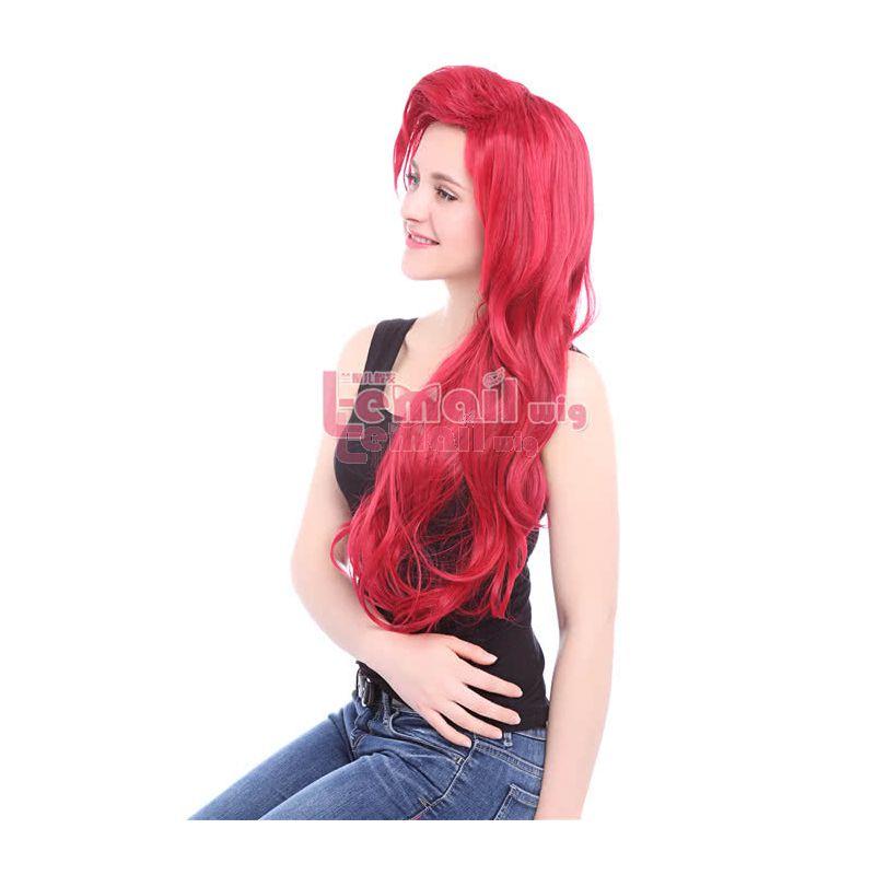 Dark Red Little Mermaid Ariel Synthetic Cosplay Wigs