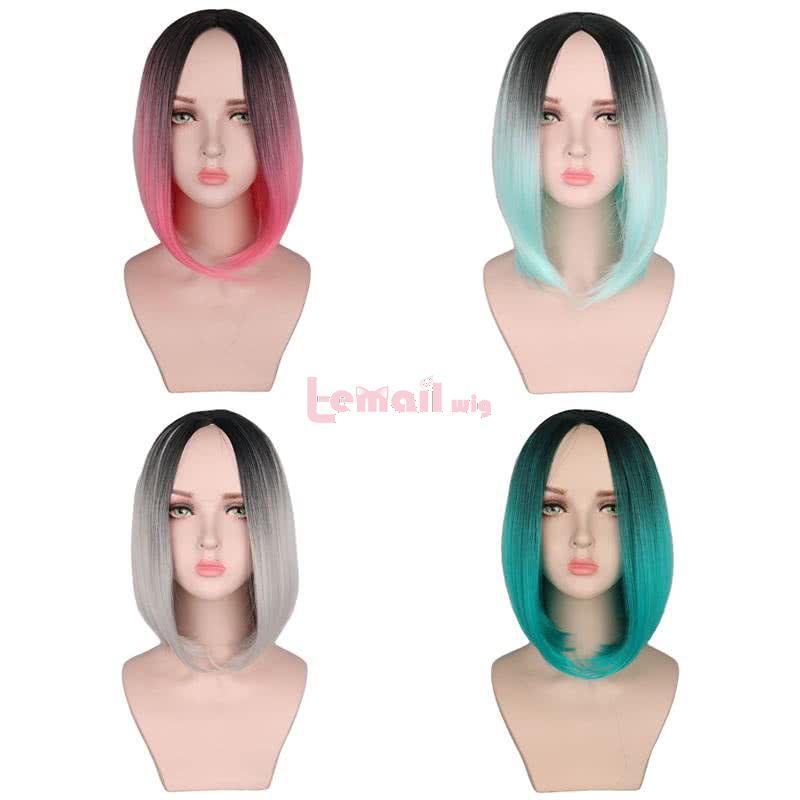 4 Colors 35cm Fashion Women Hair Gradient Color Short Trendy Wigs
