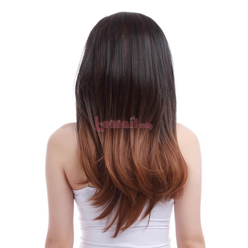 55cm Long Charm Sweet Women Black Gradient Brown Fashion Wigs