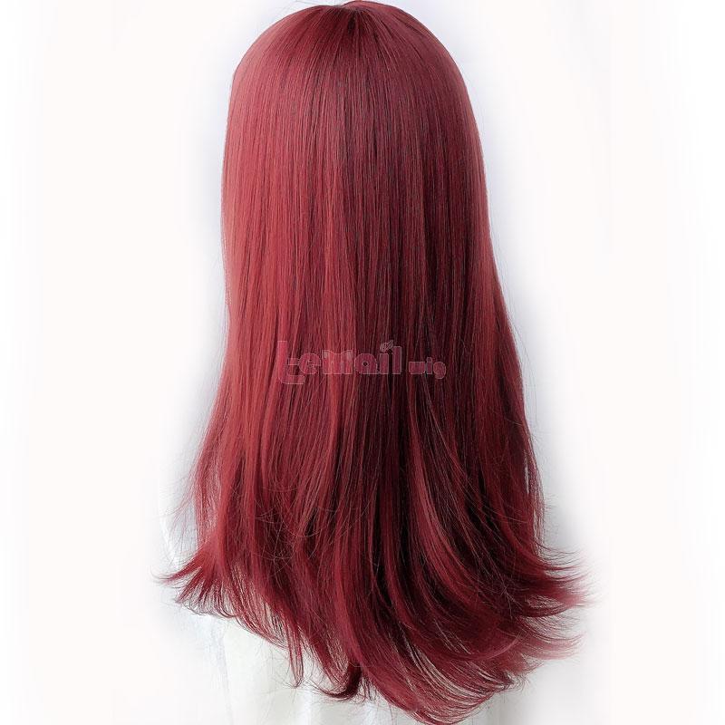 60cm Lolita Medium Long Hair Rose Red Stright Wigs3