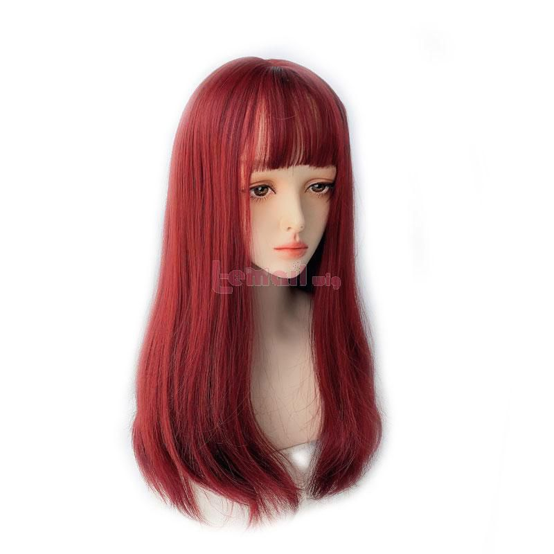 60cm Lolita Medium Long Hair Rose Red Stright Wigs