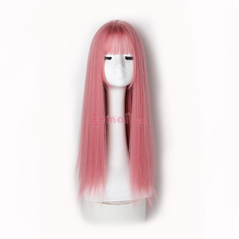 60cm Lolita Medium Long Stright Hair Light Pink Wigs