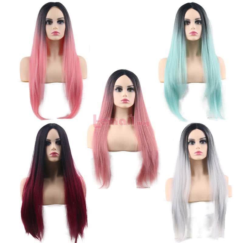 60cm Long 6 Colors Anime Straight Smooth Black Gradient Cosplay Wigs