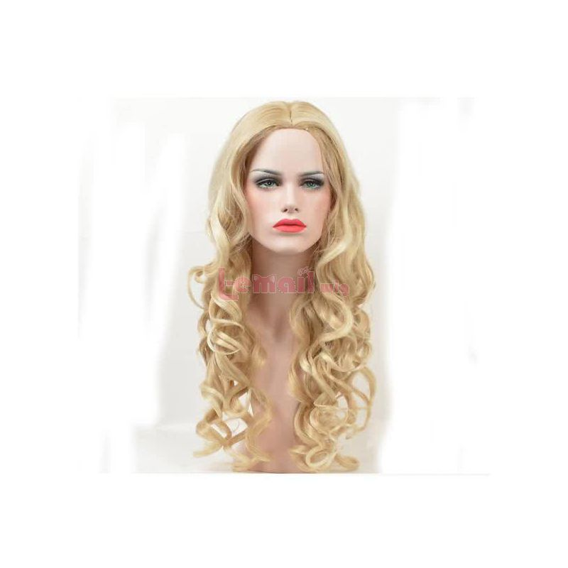 60CM Long Blonde Women Hair Curly Sweet Fashion Cosplay Wigs