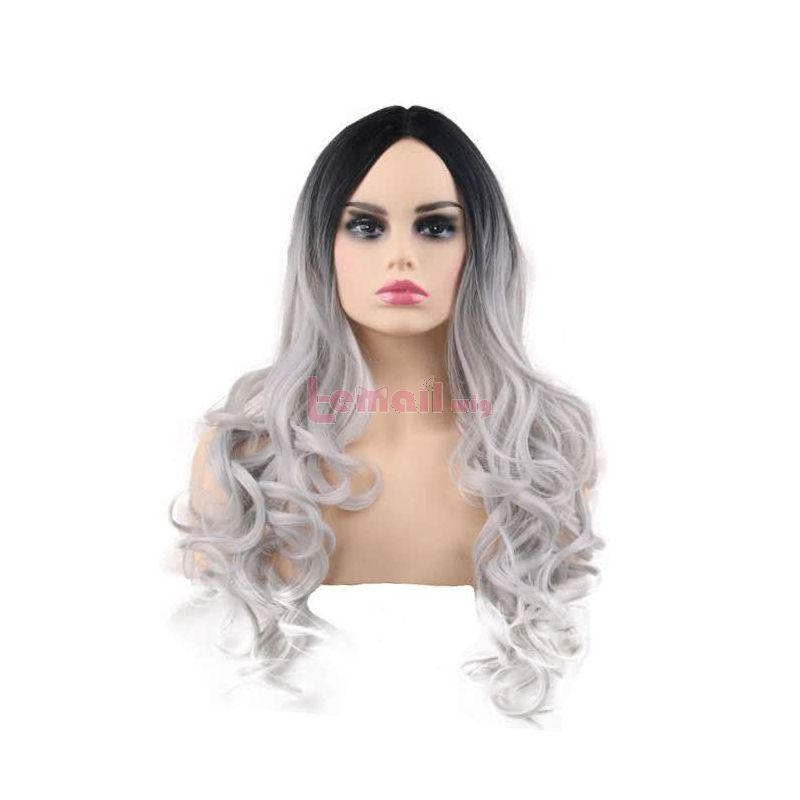 60cm Long Classic Curly Black Gradient Brown Pink Grey Charms Fashion Wig