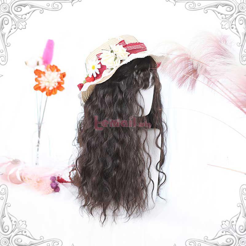 65cm Lolita Curly Long Brown Black Cosplay Wigs