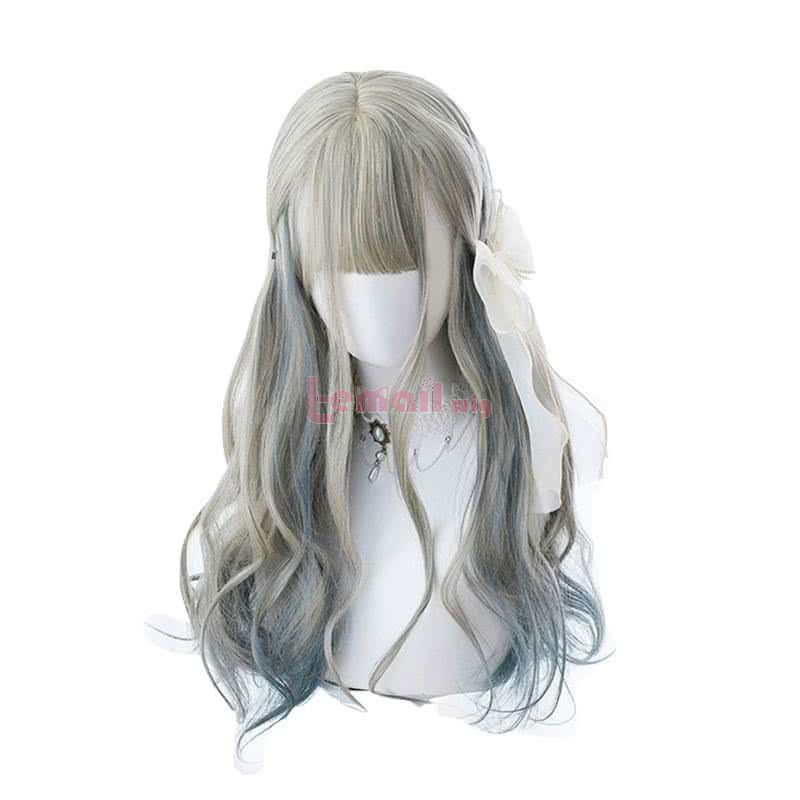 65cm Long Curly Gradient Lolita Wigs Mixed Color Woman Hair Wave Cosplay Wig