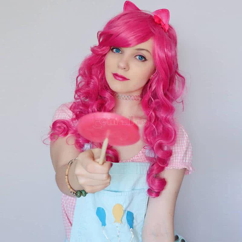 70cm long Magenta My Little Pony Pinkie pie wavy Cosplay wig