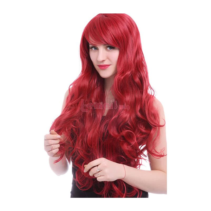 80cm Long Red Synthetic Heat Resistent Hair Wave Wig