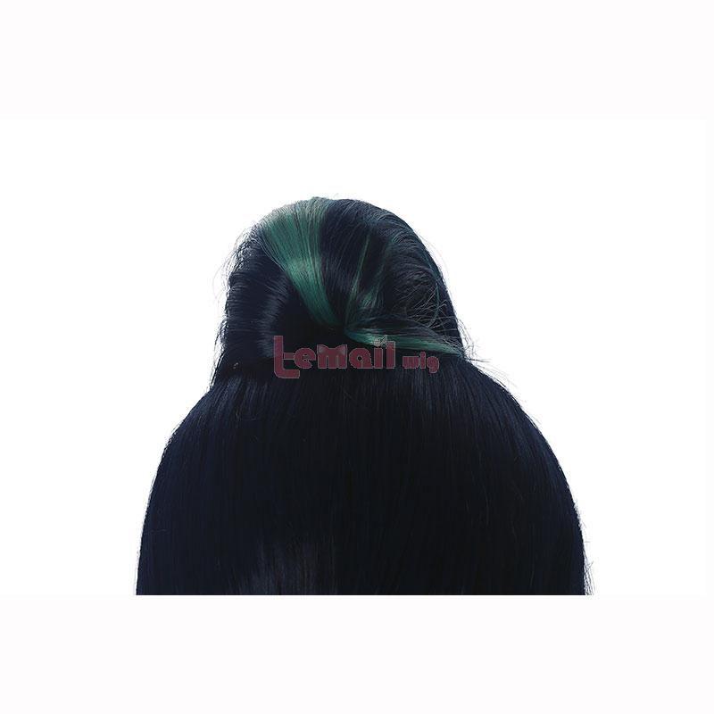 80cm LOL KDA BADDEST Kai'sa Dark Blue Mixed Green Cosplay Wig