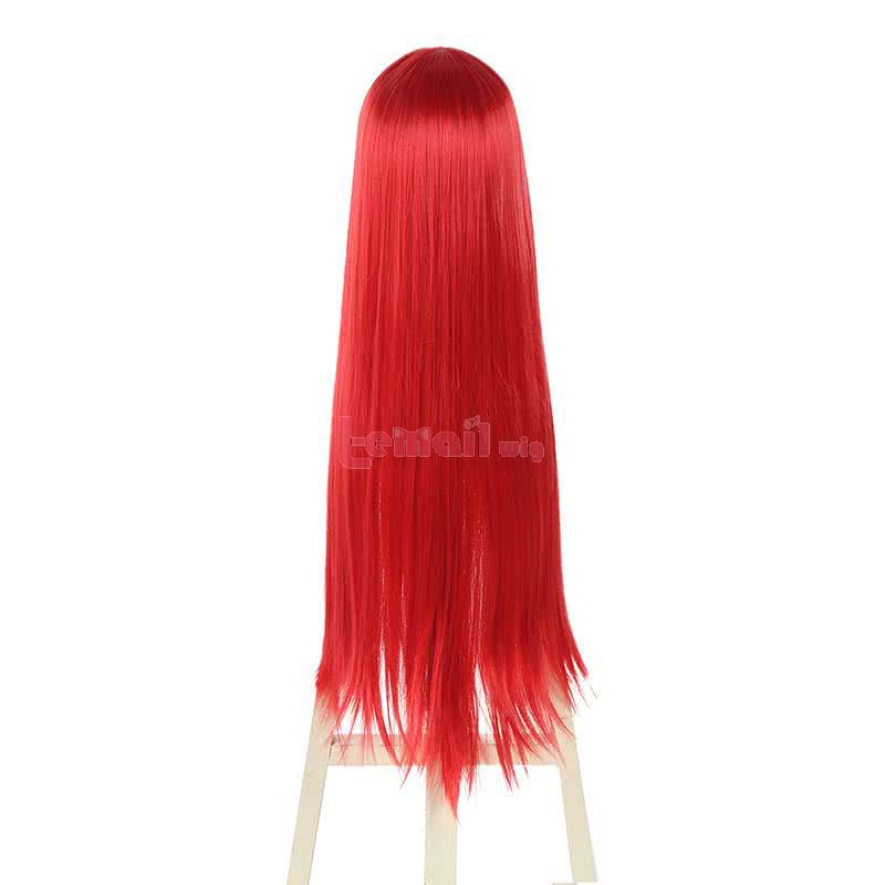 80cm Wine Red Straight Fairy Tail Erza Scarlet Cosplay Wigs