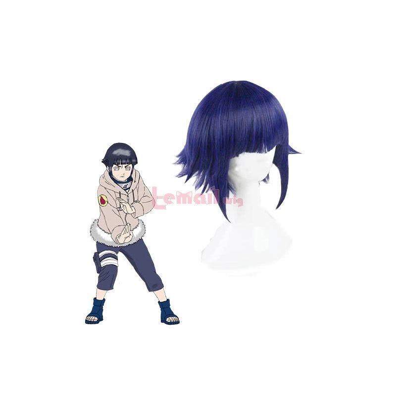 Naruto Hinata Hyuga Short Blue Fluffy Cosplay Wigs