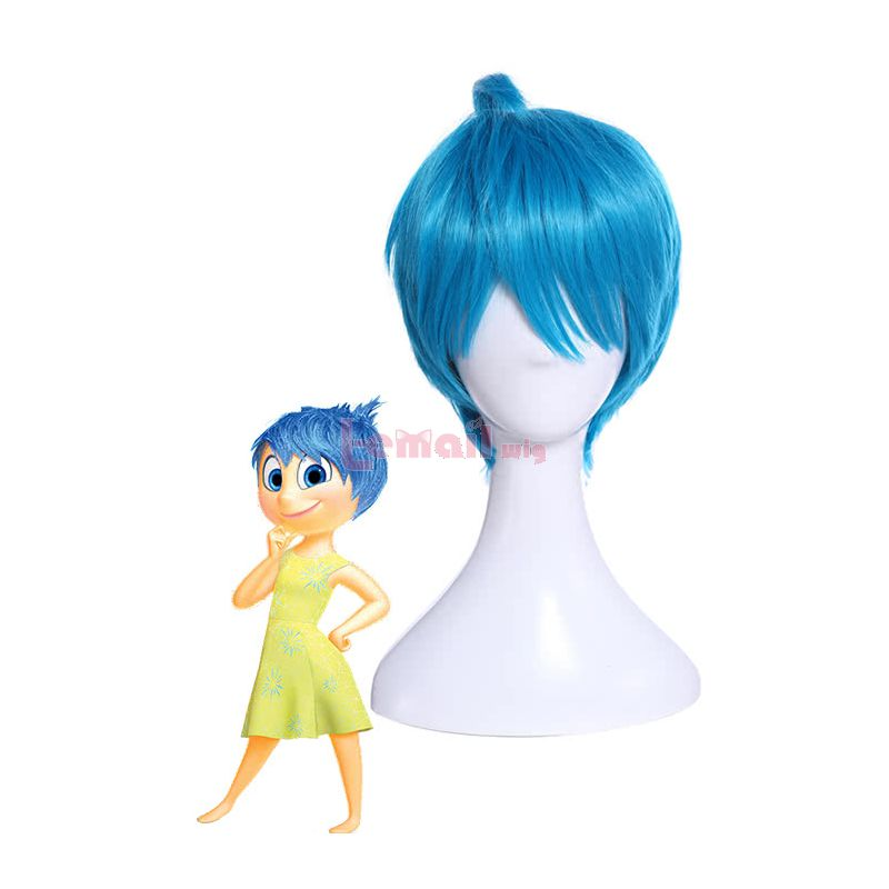 Inside Out Joy Light Blue Anime Cosplay Wig
