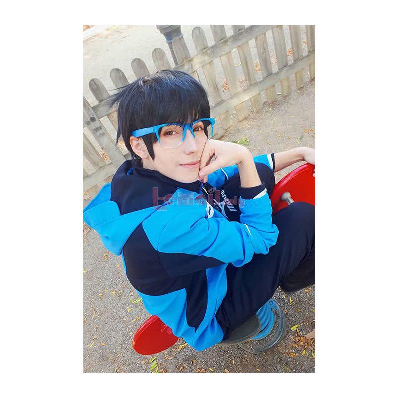 YURI!!! on ICE Yuri Katsuki Short Straight Fancy Hair Wigs Short Black Anime Cosplay Wigs