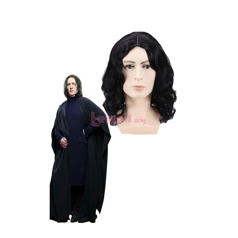 Harry Poter Severus Snape Black Curly Cosplay Wig