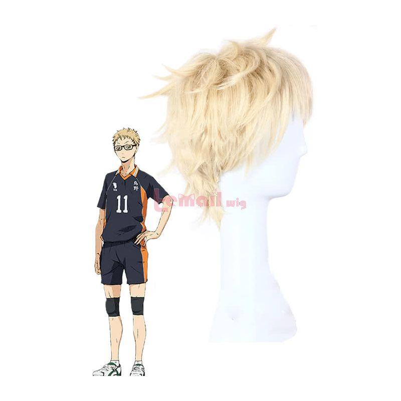 Haikyū!!Kei Tsukishima Blonde Short Cosplay Wig