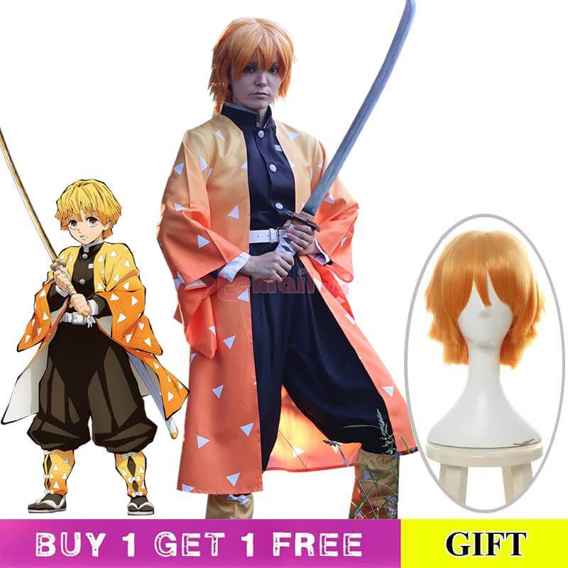 Demon Slayer / Kimetsu no Yaiba Agatsuma Zenitsu Yellow Kimono Cosplay Costume