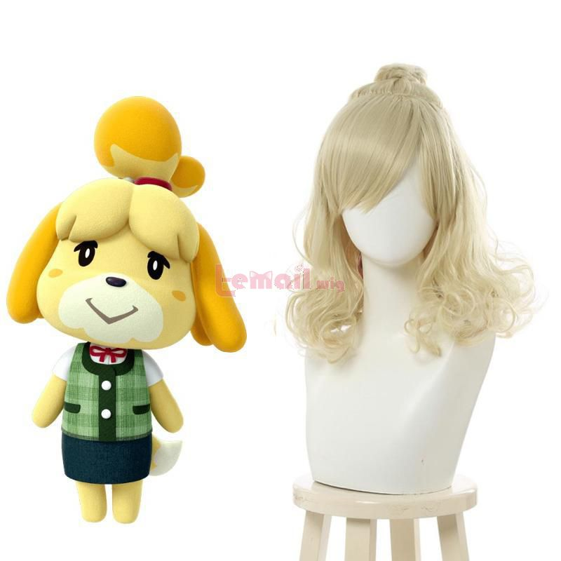 Animal Crossing Isabella Long Curly Blonde Cosplay Wigs