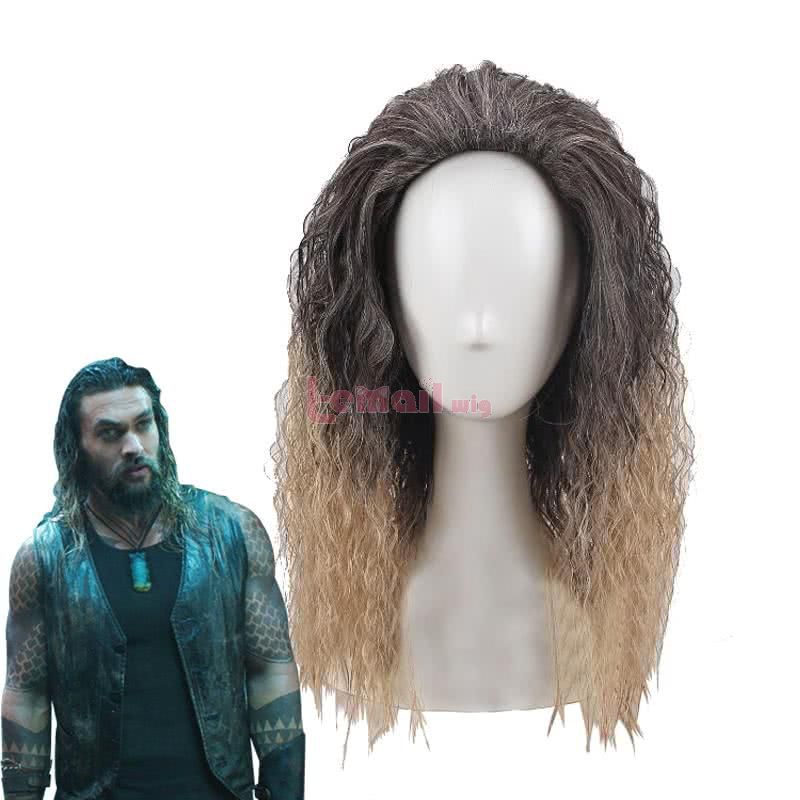 Anime Aquaman Arthur Curry Long Gradient Curly Cosplay Wigs