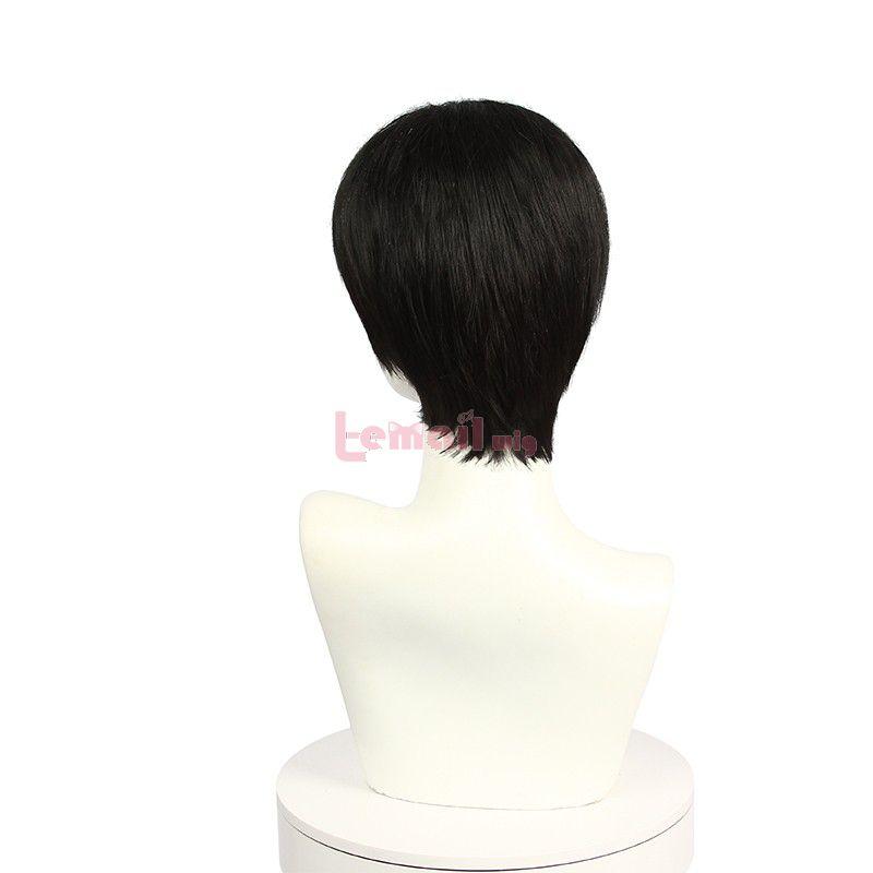 Anime Attack on Titan Levi Short Straight Black Cosplay Wigs
